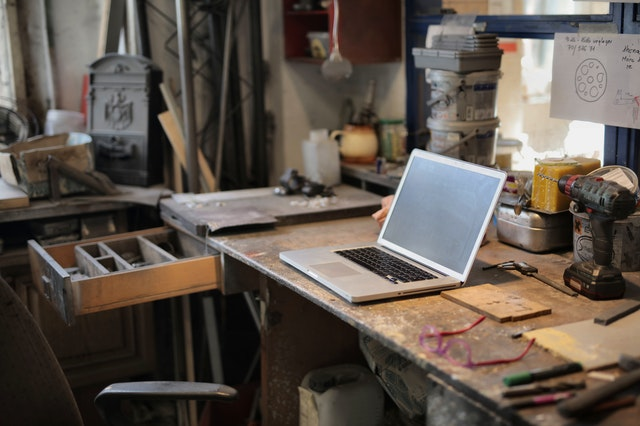 Side hustle setup in the garage